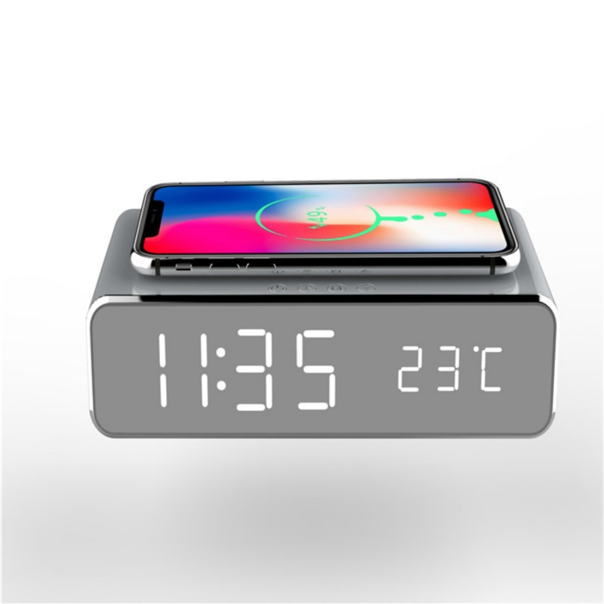 Wireless Charging Digital Alarm Clock With Wall Adapter
