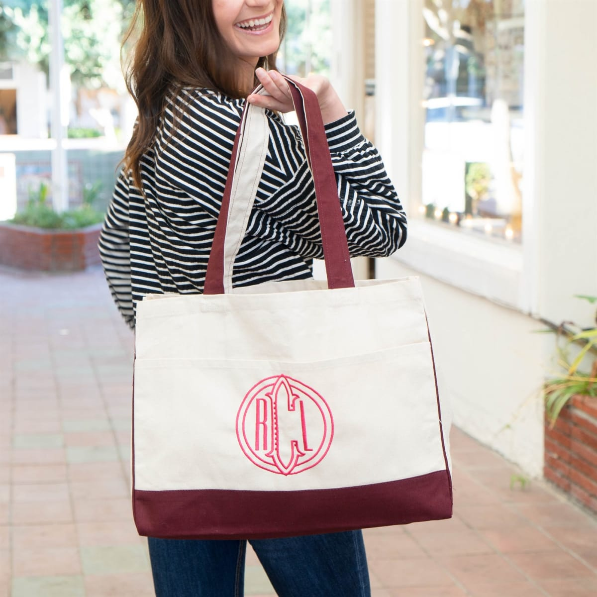 Monogram Embroidered Canvas Pocket Tote! .95 (REG .95) + Free Shipping at Jane!