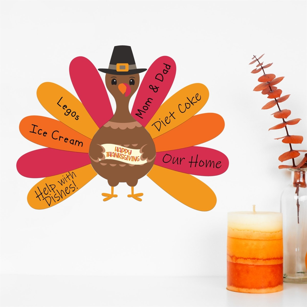 Thanksgiving Dry Erase Decal Sticker Decorations