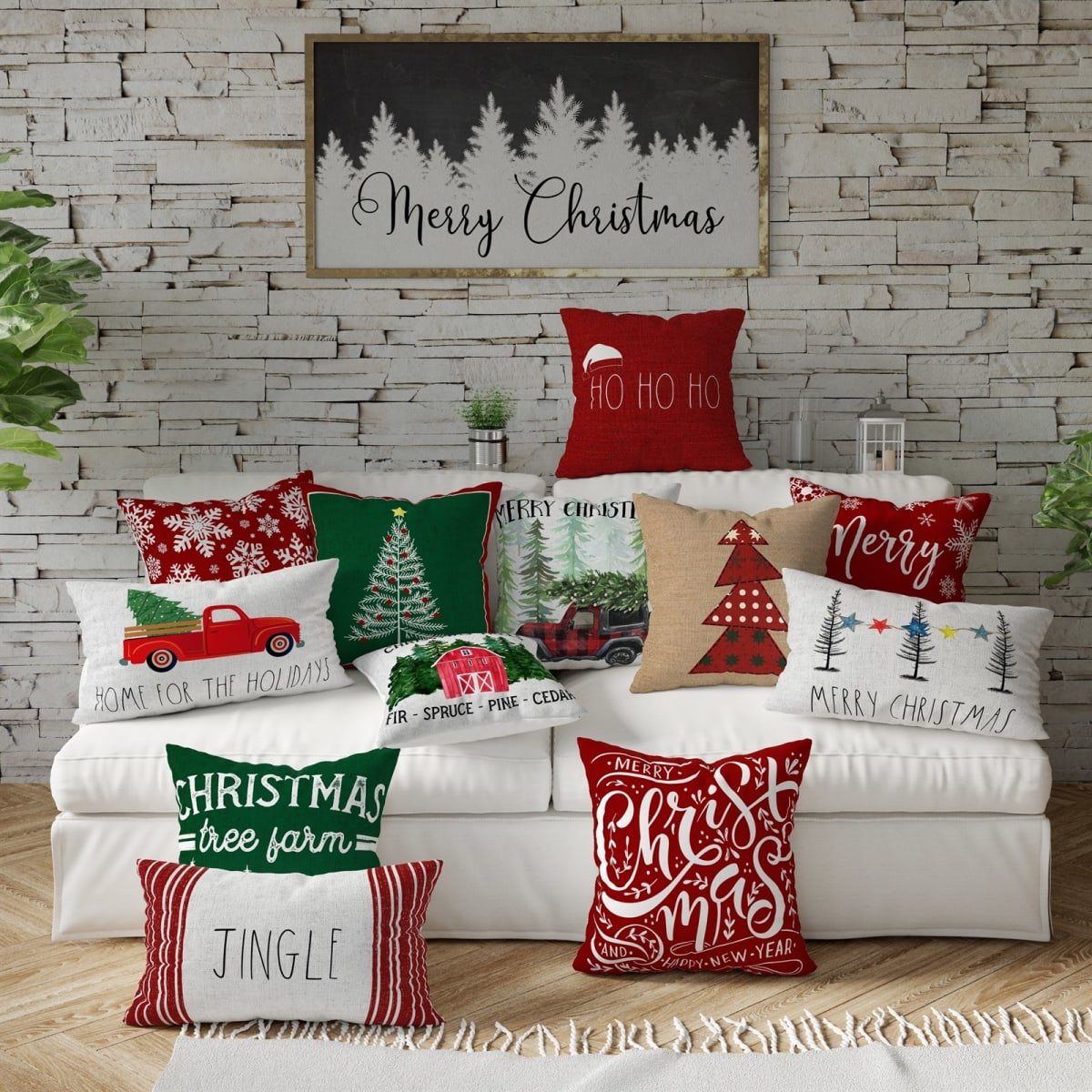 Farmhouse Chic Christmas Pillow Covers