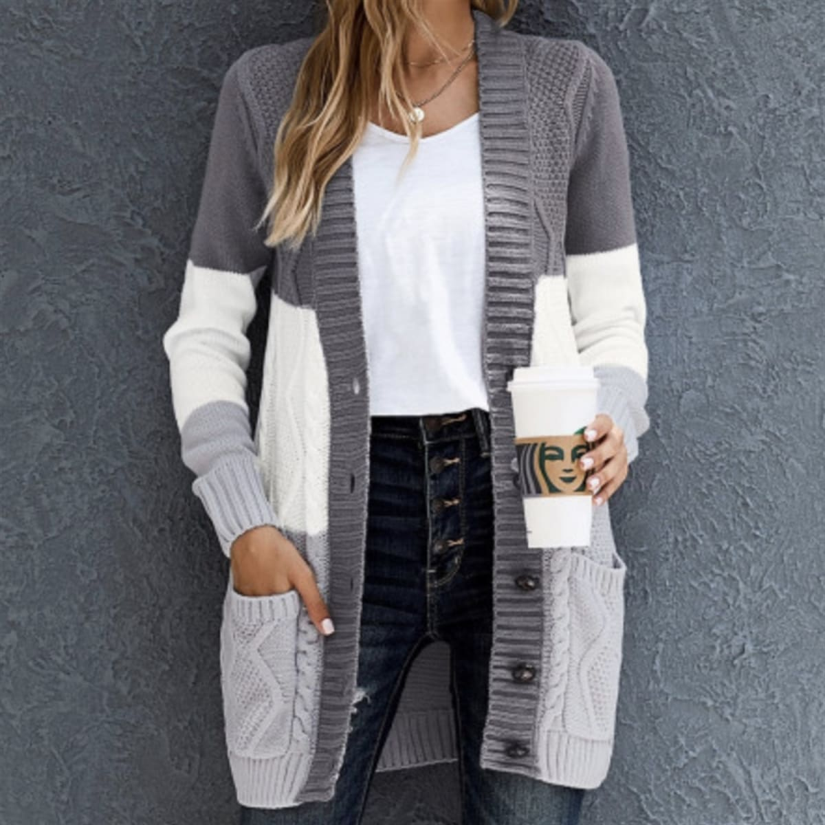 .99 Best Self Button Front Cardigan + Free shipping at Jane!