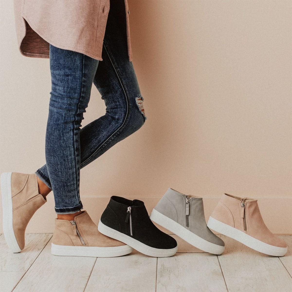 Jane Side Zipper Sneakers