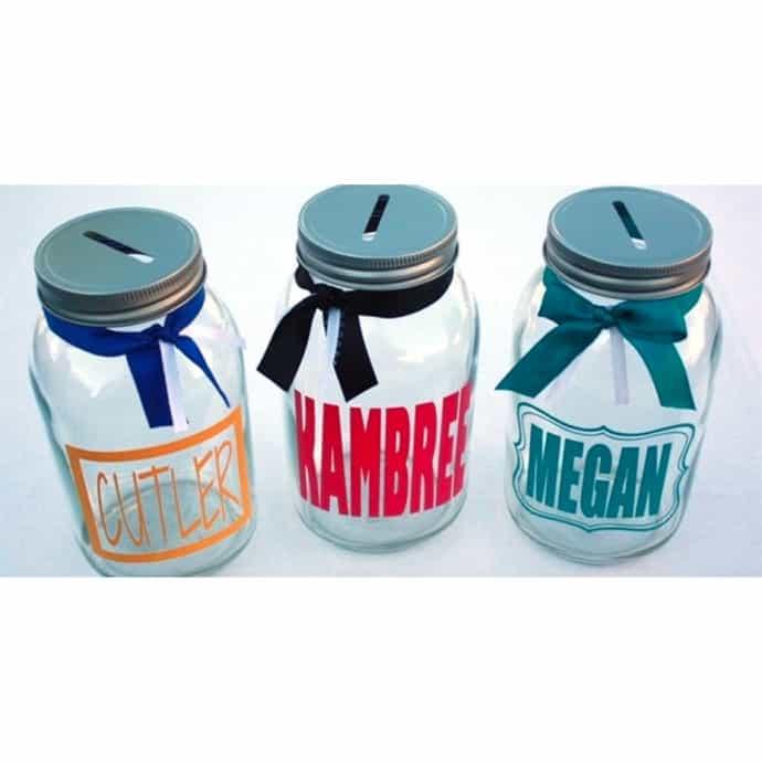 Personalized Mason Jar Banks 3 Options You Pick Colors