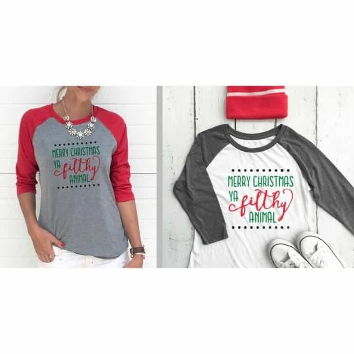 3690b0cb Merry Christmas Ya Filthy Animal | Women's Raglan | Jane