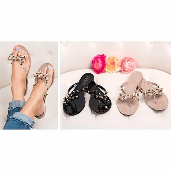 b4227b110 Valencia Studded Bow Jelly Sandals