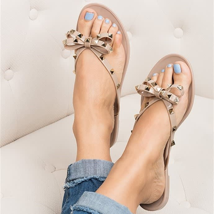 5e3758d00 47%You save. 0 00 00Time Left. Expired. Valencia Studded Bow Jelly Sandals