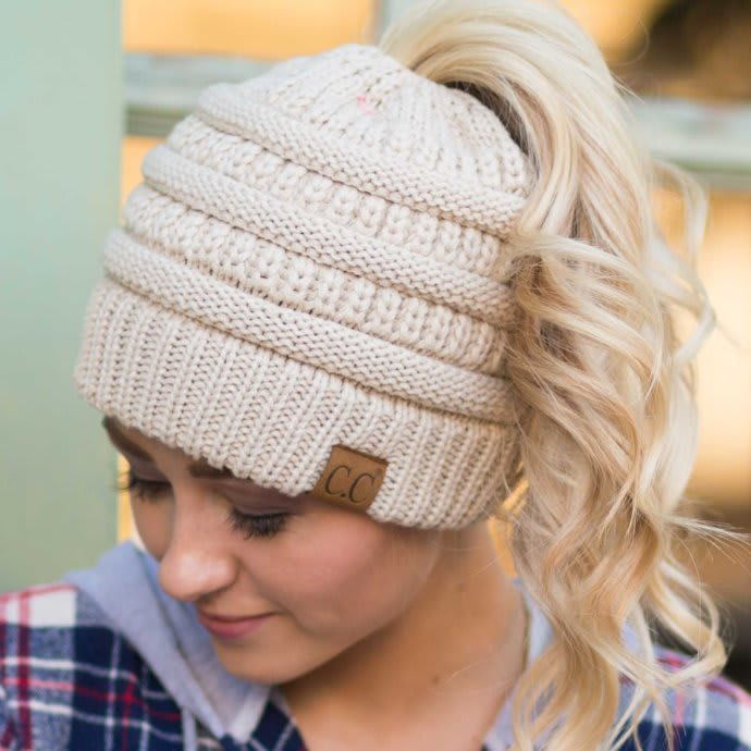 cb1a0a82 CC Messy Bun/Pony Beanie| Adult & Kids Sizes | Jane