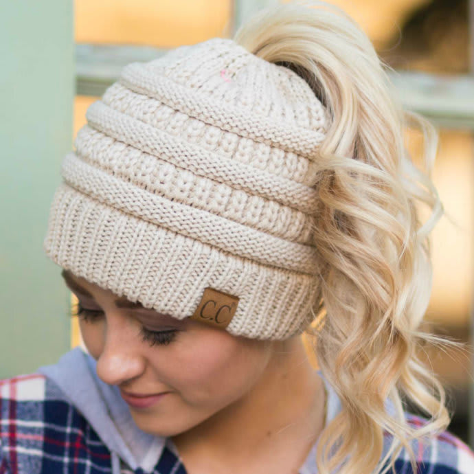 acbc120b5 CC Messy Bun/Pony Beanie| Adult & Kids Sizes