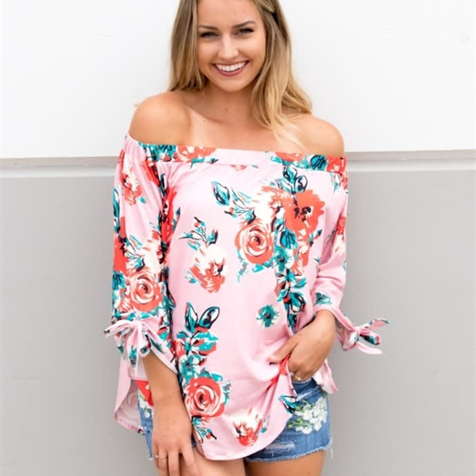 2ef870e2ddd 60%You save. 0:00:00Time Left. Expired. Watercolor Floral Off The Shoulder  Top