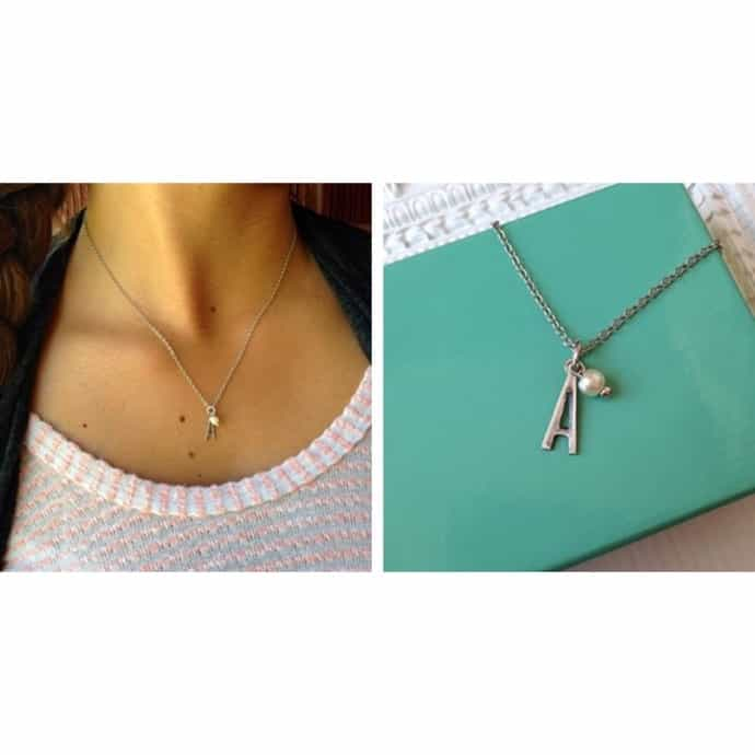 f3ec4cf78b434 HAPPY NEW YEARS Simple Initial Necklace- FREE TIFFANY BLUE GIFT BOX ...