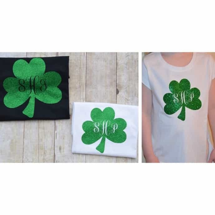 3a9d643dc Monogrammed St. Patricks Day Green Glitter Shamrock T-Shirt Youth and Womens  Sizes