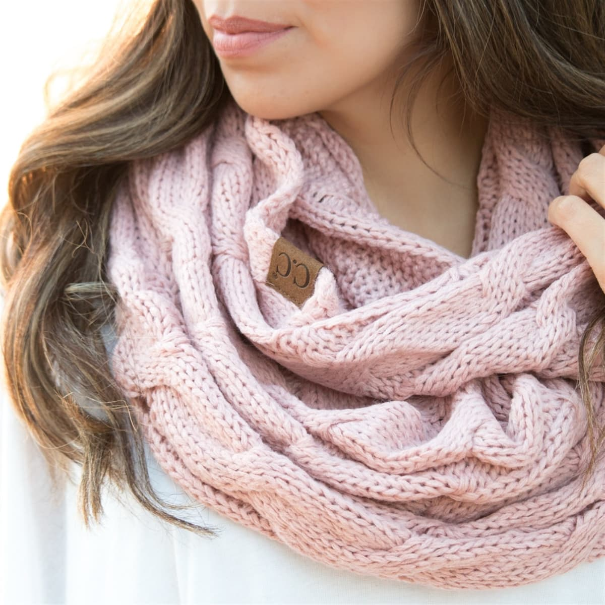 C C Cable Knit Infinity Scarf 9 Colors Jane