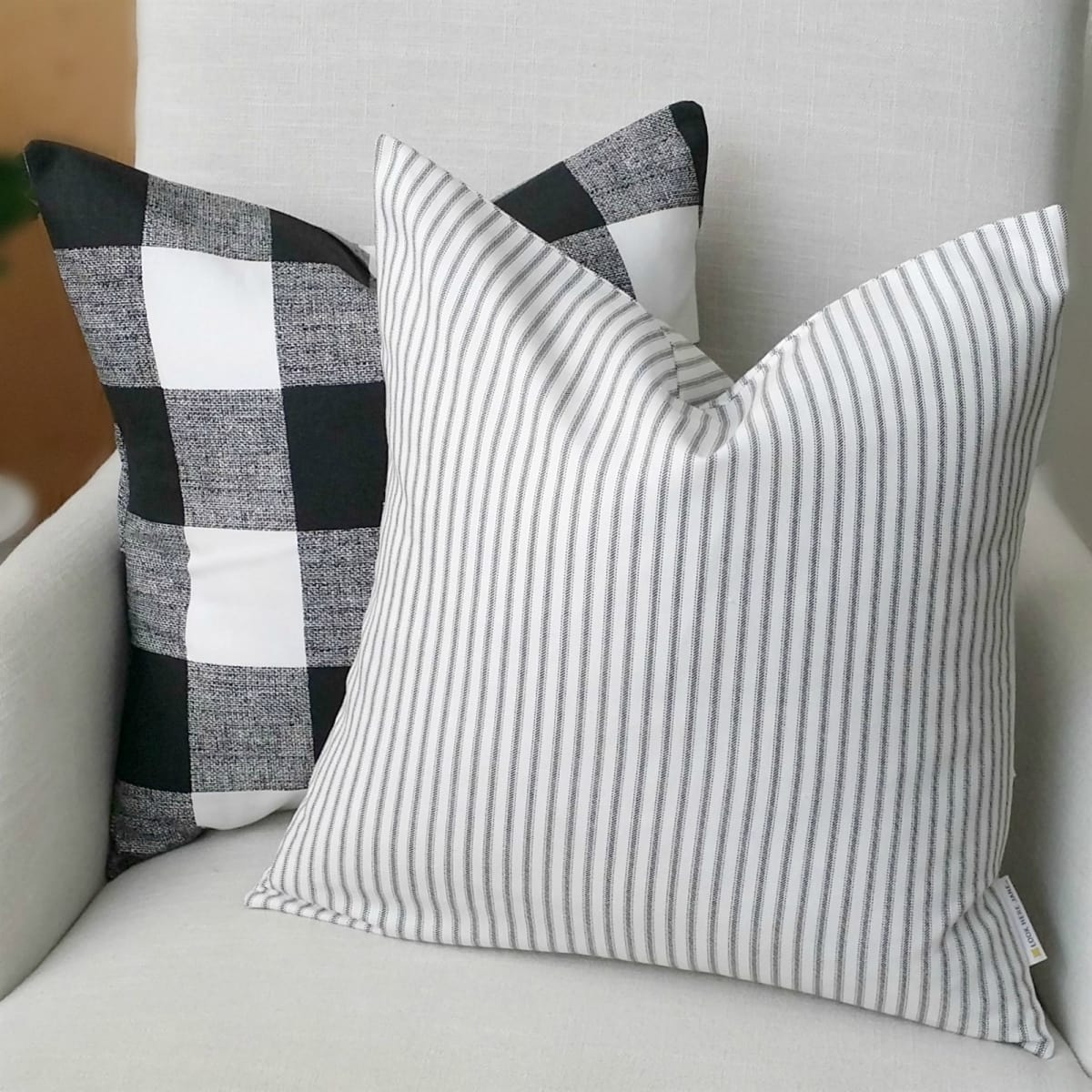 d599425ce871 Farmhouse Ticking Pillow Covers | Jane