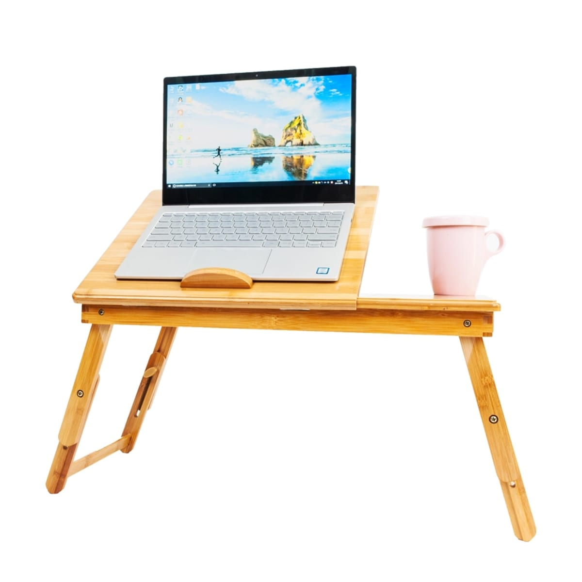 Office Furniture 53cm*33cm Retro Double Flowers Pattern Laptop Desk Adjustable Bamboo Lap Desk Tray Computer Desk Bedroom Living Room Simple Desk