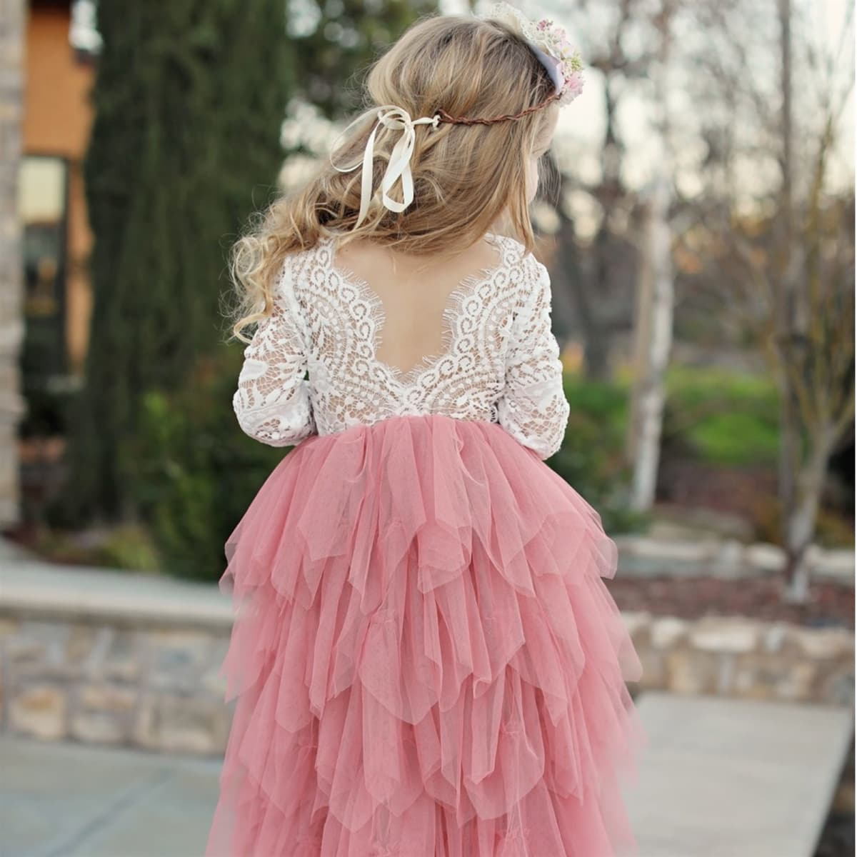 Tiered Lace Flower Girl Dress | 15 Colors
