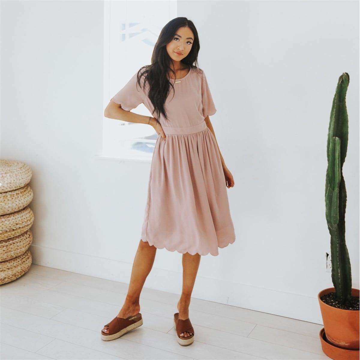 7cd80b38dc1f Delphina Scallop Sleeve Dress | 2 Colors | Jane
