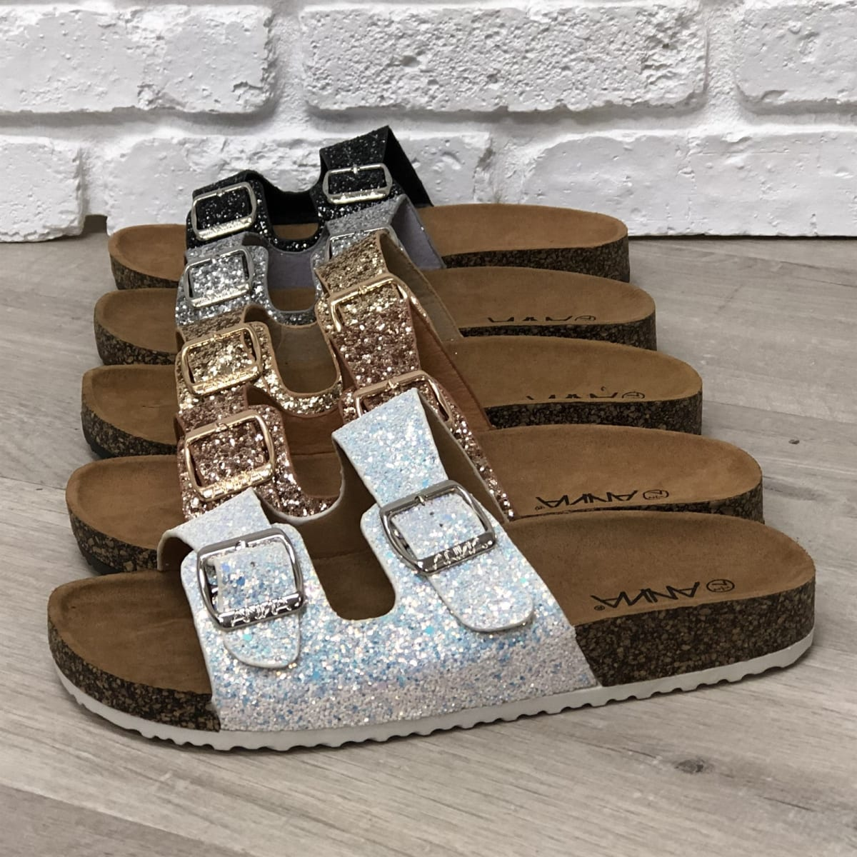 26dd134d951e Slip-on Glitter Two-Strap Sandals
