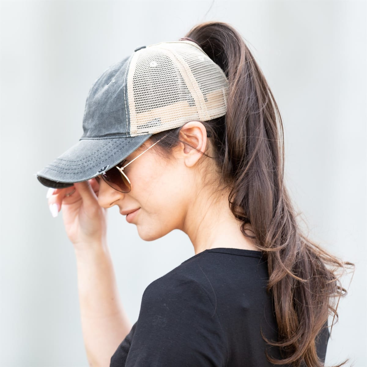 476a042f6bc Distressed Messy Bun Trucker Hats | Jane