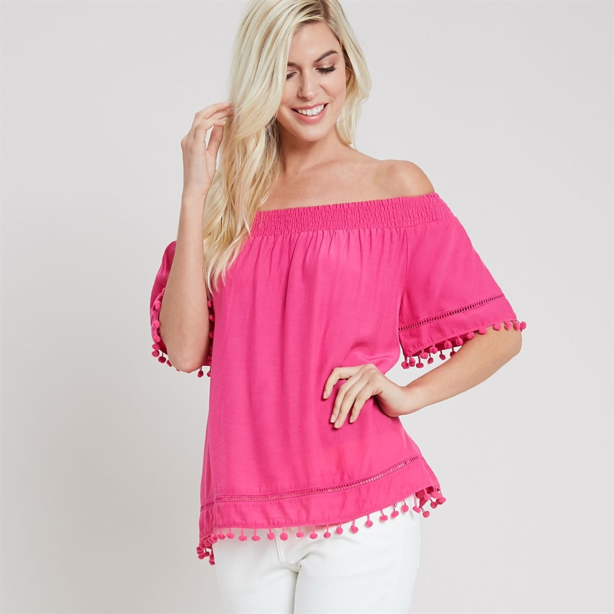 85848795161eb Pom Pom Trim Off The Shoulder Blouse | Jane