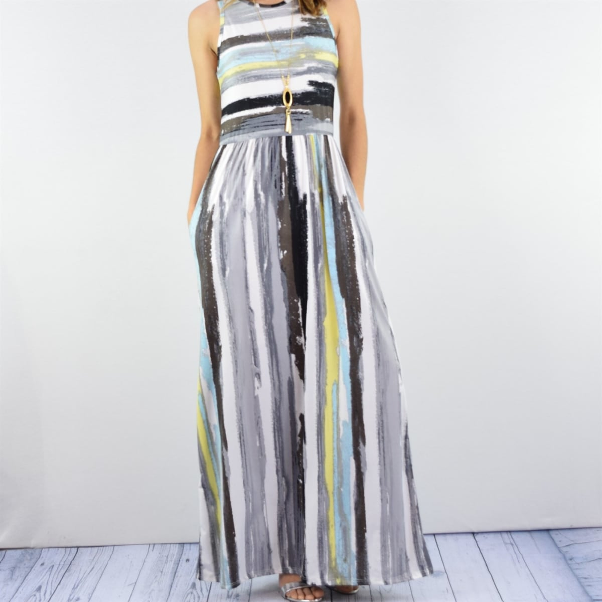 Womens Multi Color Stripe Maxi Dress