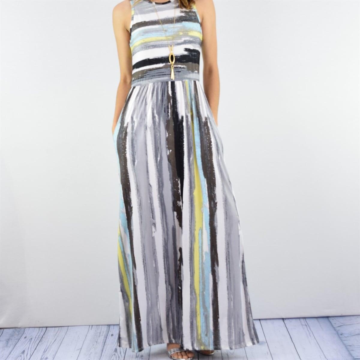 Womens Multi Color Stripe Maxi Dress