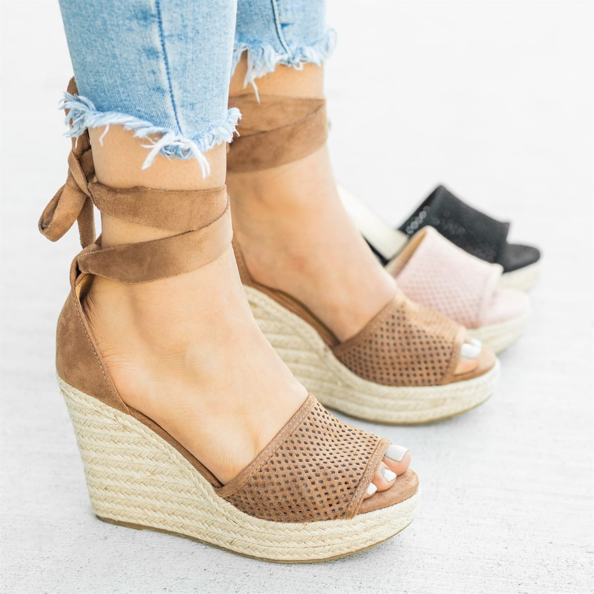 6dc80d402ba Tie-Up Espadrille Wedges