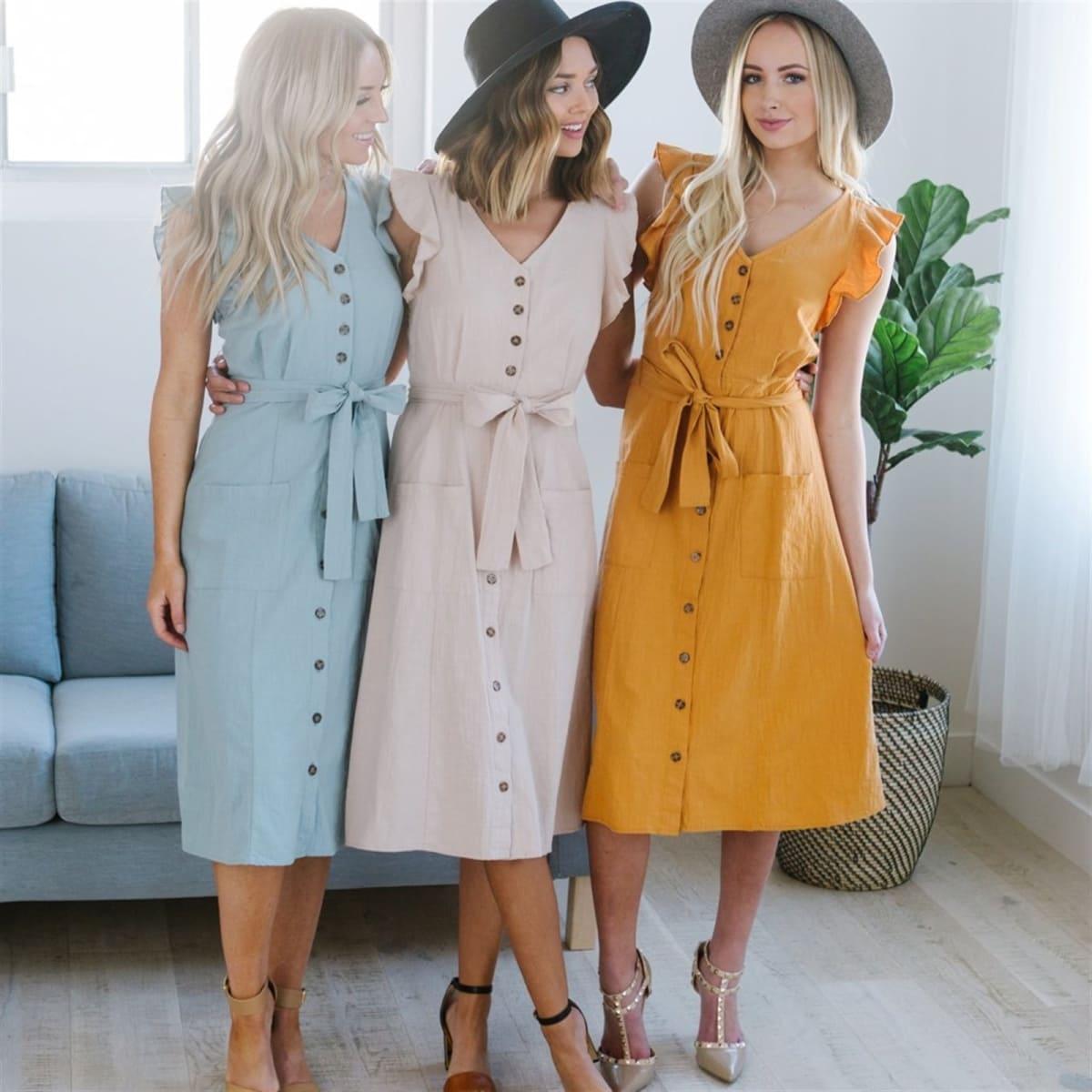 Womens Cute Tie Waist Button Dress