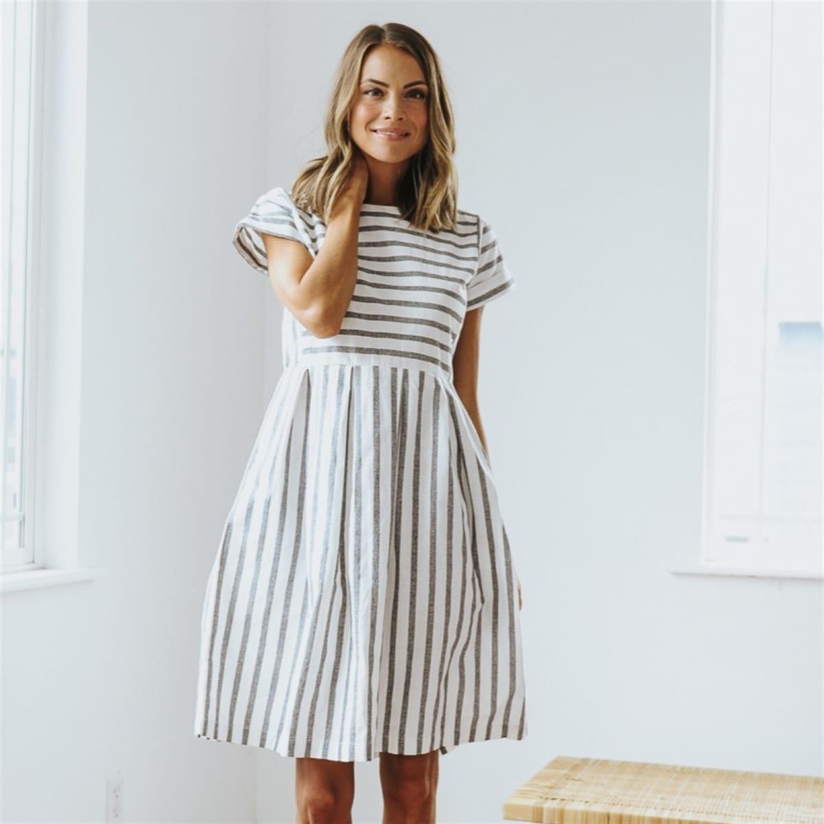 bfa1ecff3c Chambray Stripe Dress | S-2XL | Free Shipping
