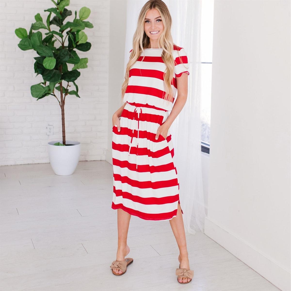 Stripe Tie Front Dress 0