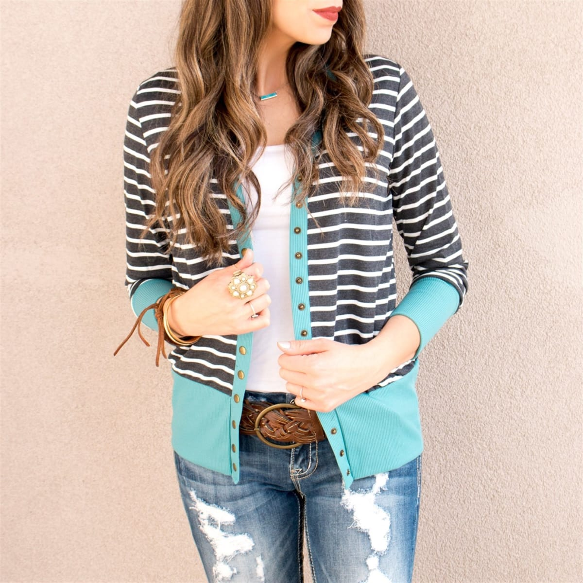 Striped Button Snap Cardigan   9 Colors