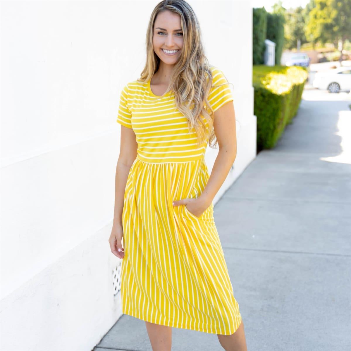 Striped Midi Dress 0