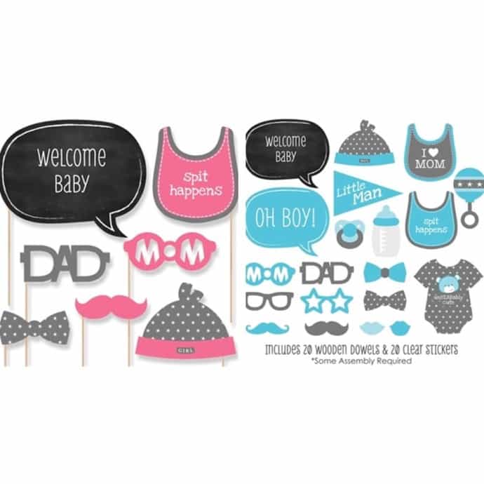 Baby Shower Gender Reveal Photo Booth Prop Kits 20 Pieces Jane