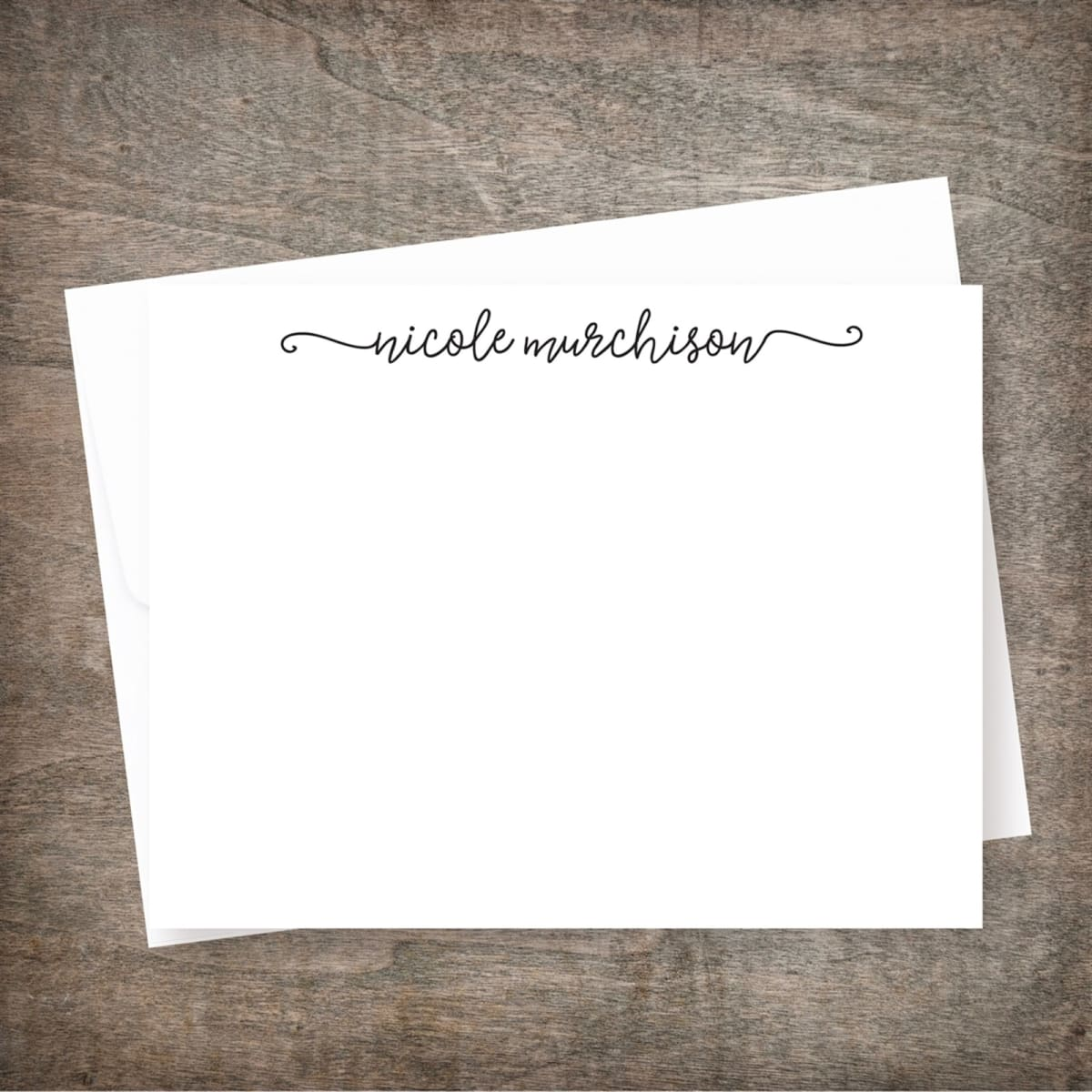 Personalized Note Cards Swash Design