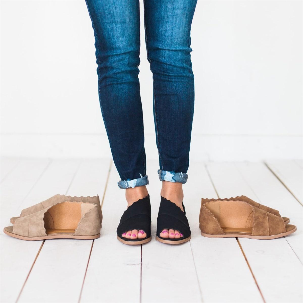 Scalloped Peep-Toe Flats