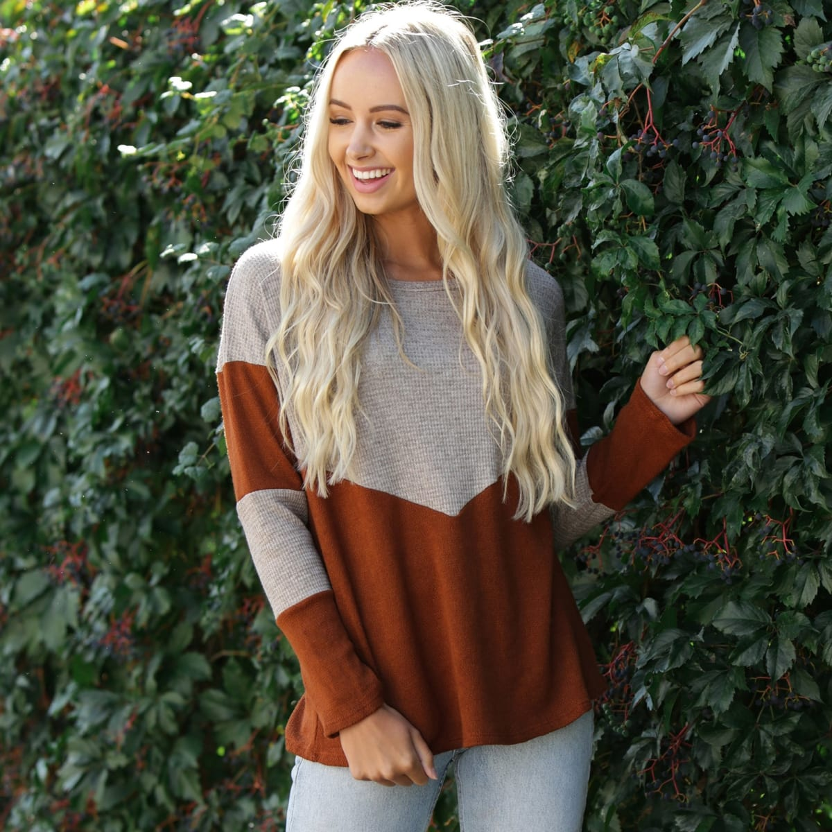 Two Tone Color Block Top