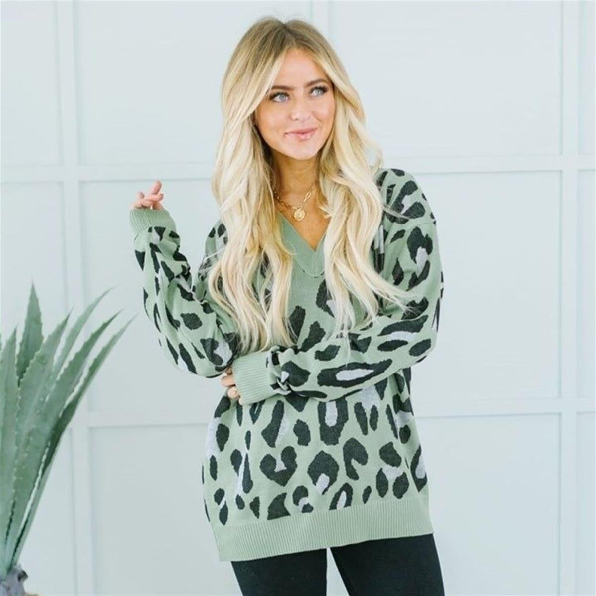 Animal Print V-Neck Sweater