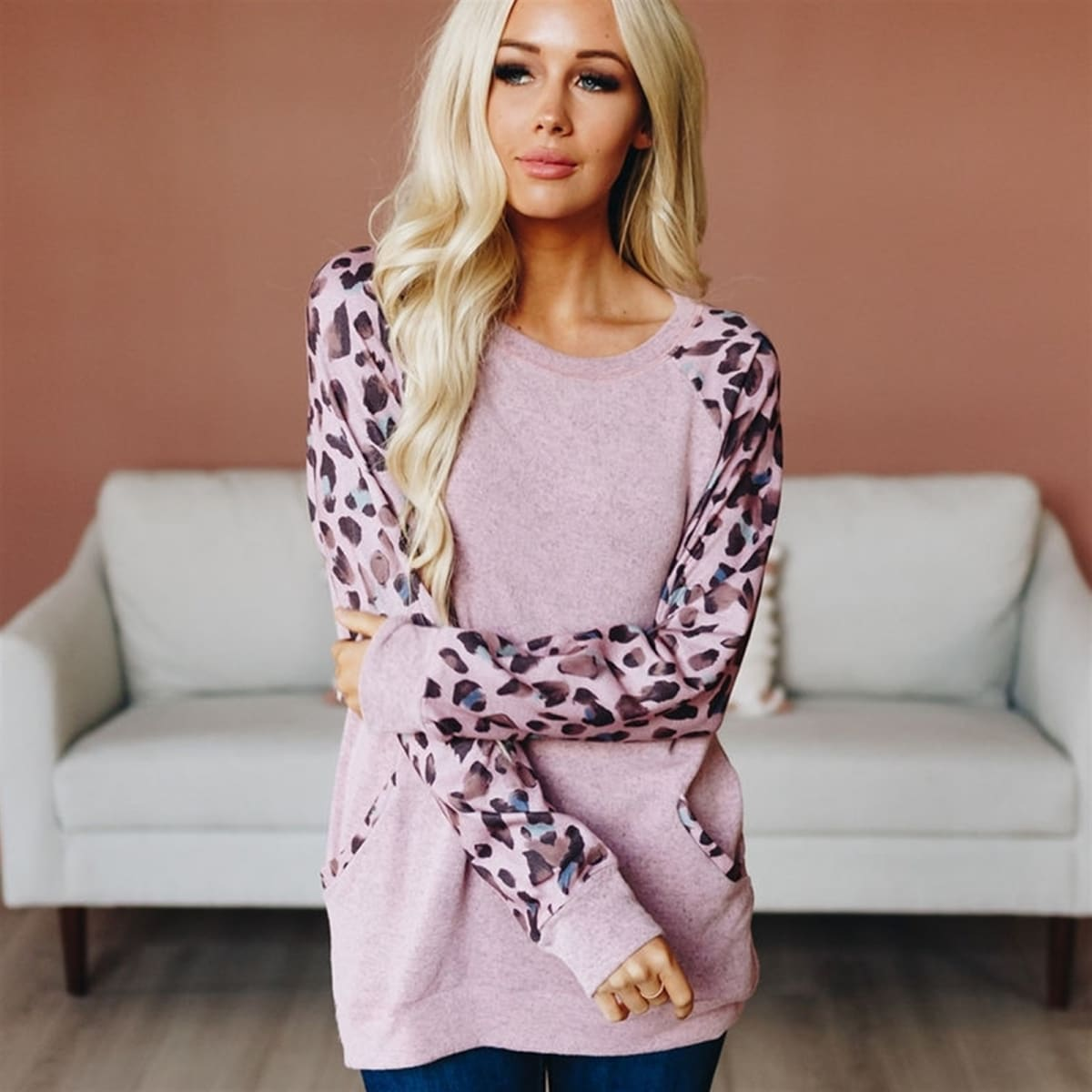 1 Super Soft Leopard Sleeve Top