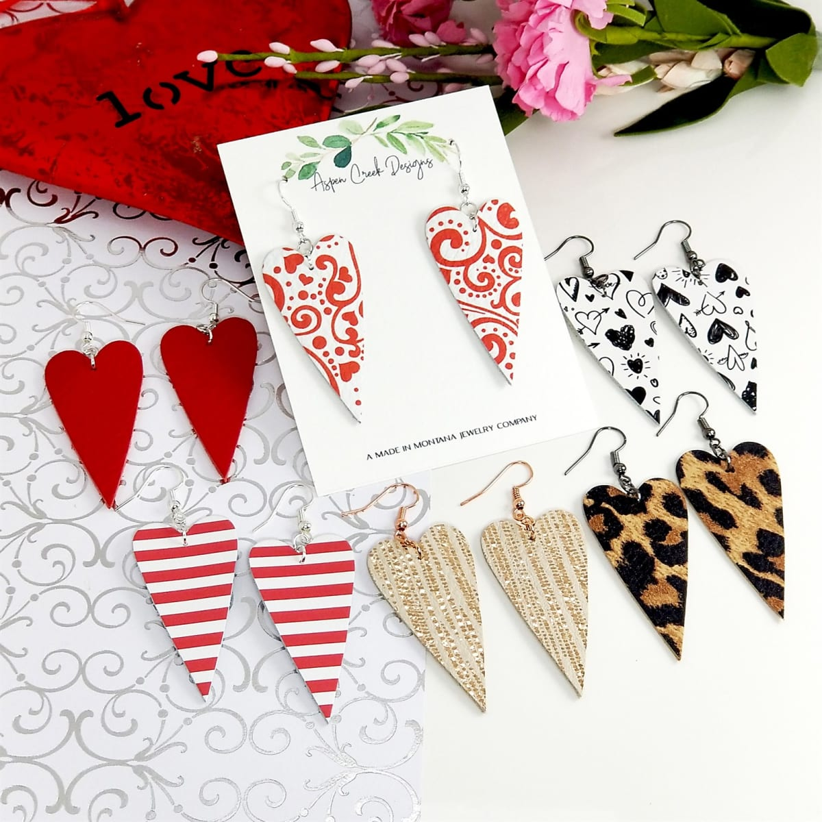 Genuine Leather Heart Earrings | Free Shipping