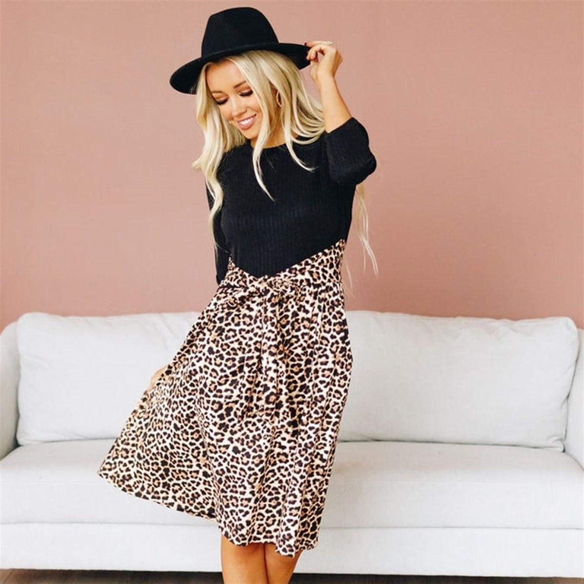 Animal Print Contrast Dress | Free Shipping