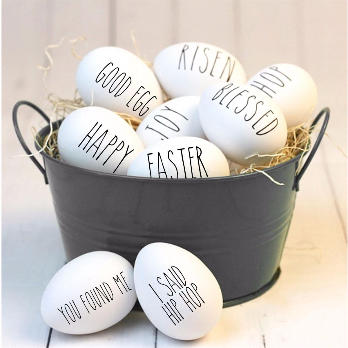 White Wooden Farmhouse Eggs