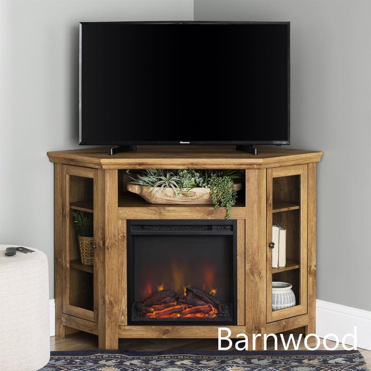 "48"" Corner Wood Fireplace TV Stand"