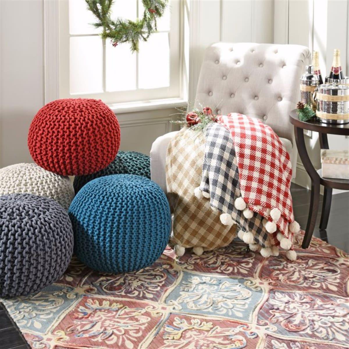 Handmade Gumdrop Knitted Pouf