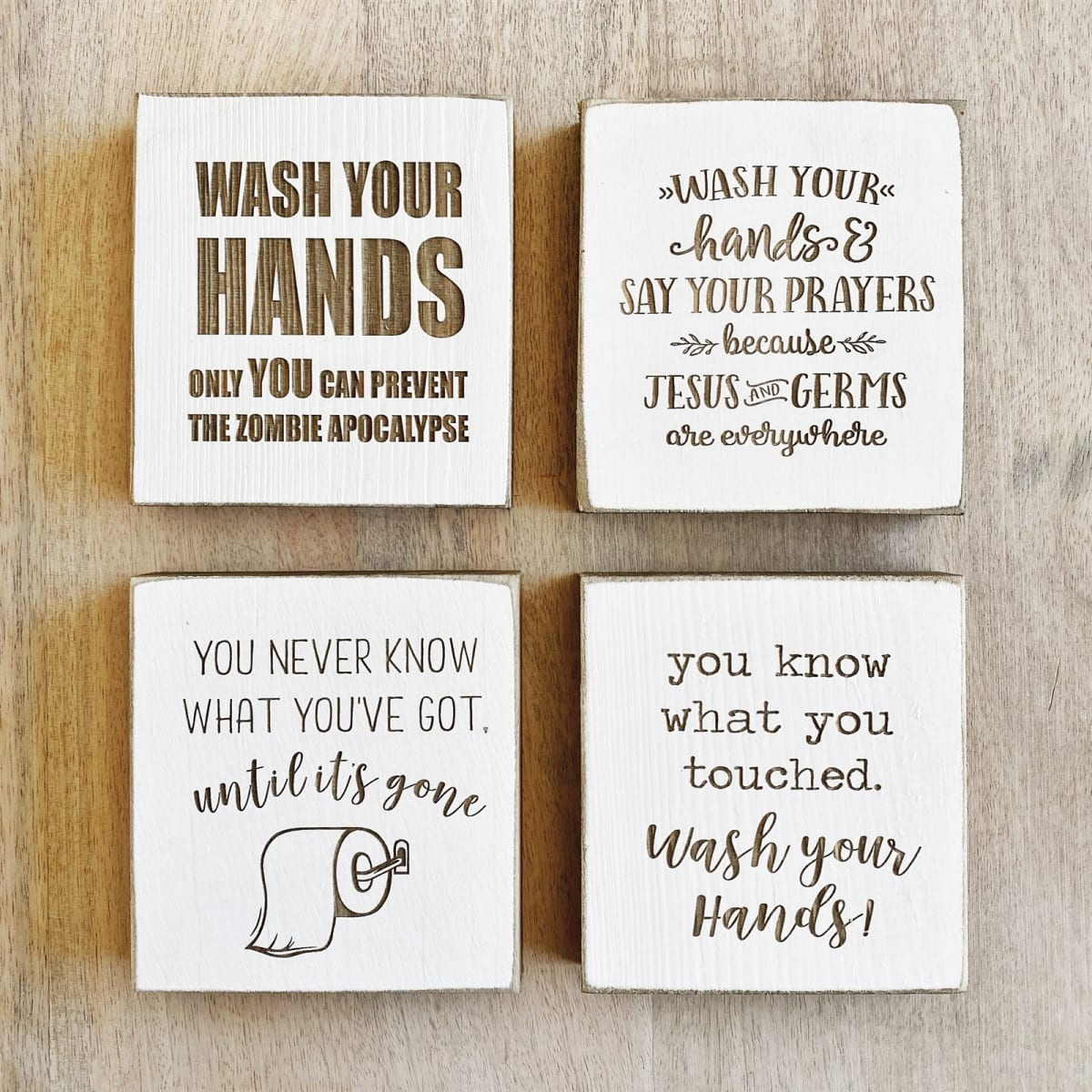 2-Set Mini Bathroom Signs