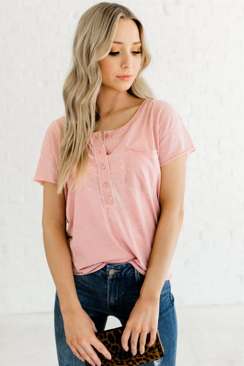 Casual & Cute Button Front Tee
