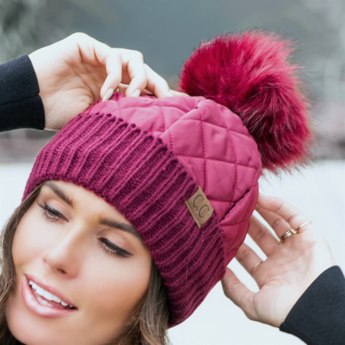 C.C Quilted Pom Beanie