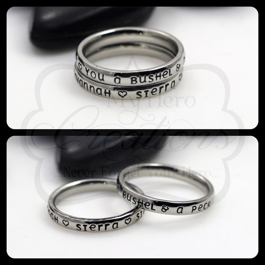 f4f846917de1e Personalized 3mm Stacking Name Rings