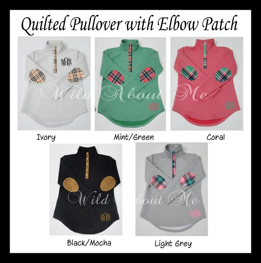e11bf7ec214 Monogrammed Quilted Elbow Patch Pullover| 8 Colors. Previous Image. Next  Image