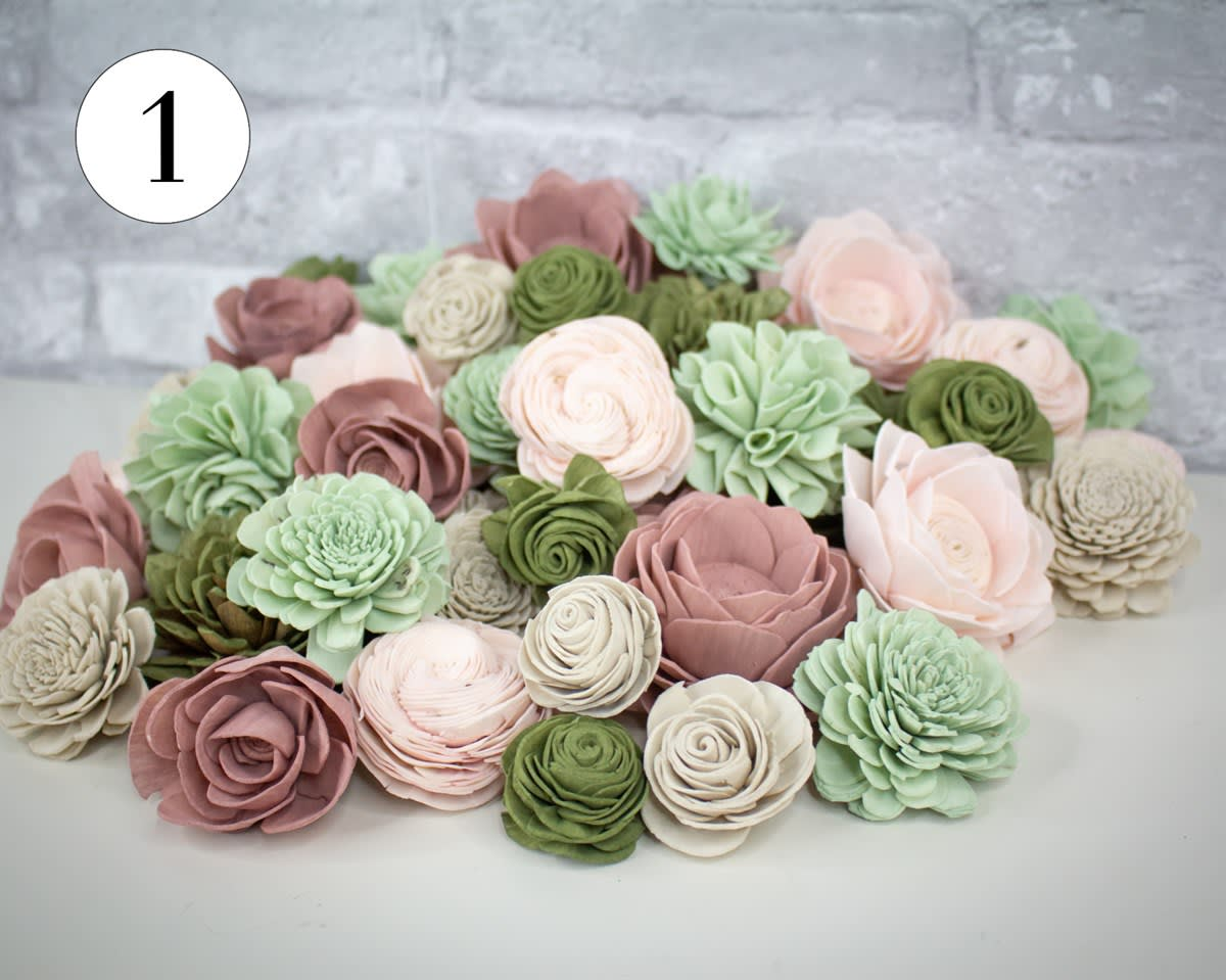 Shabby Chic Wood Flowers | Dyed Assortment
