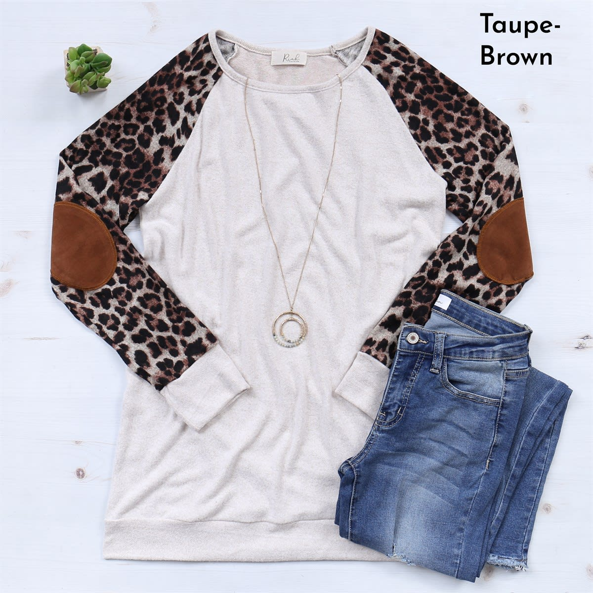 Elbow Patch Leopard Sweater | Free Shipping