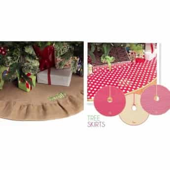 Personalized Christmas Tree Skirts Burlap And Canvas Designs Available